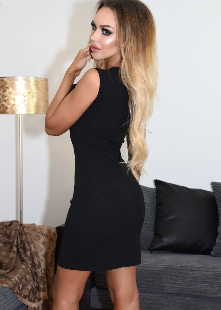 Kesha Black Embellished Neck Pleated Neck Bodycon