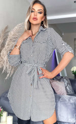 Rushika Dogtooth Crepe Shirt Dress - Missfiga.com