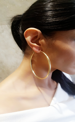 Candice Large Gold Textured Hoop Earrings