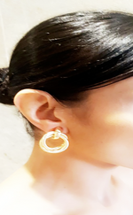 Nora Gold Patterned Twisted Door Stopper Earrings - Missfiga.com
