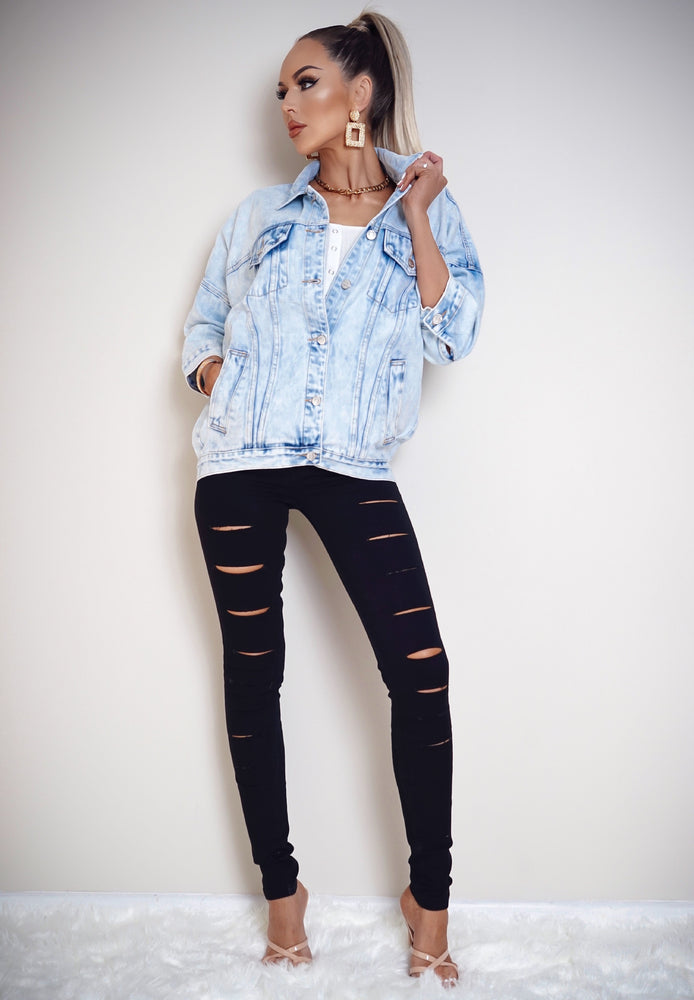 Roxy Washed Light Blue Denim Jacket
