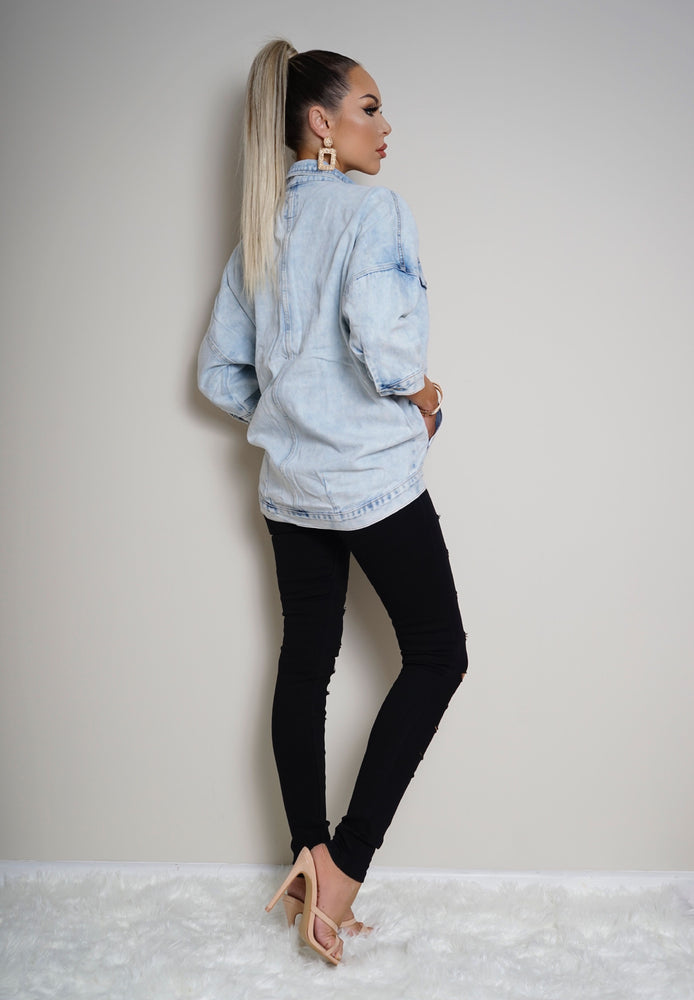 Roxy Washed Light Blue Denim Jacket - Missfiga.com