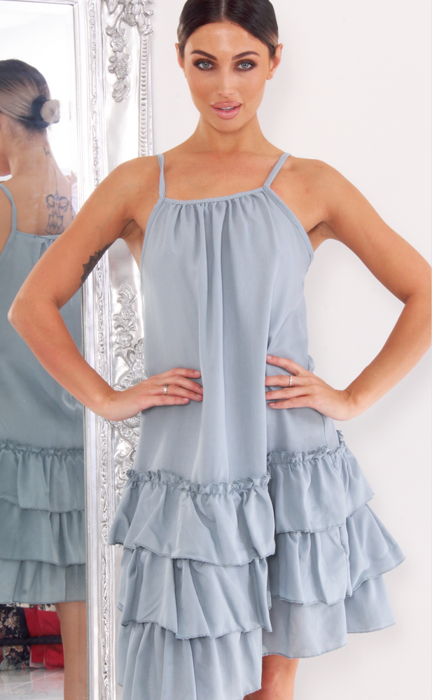 Kimora Baby Blue Strappy Ruffle Hem Swing Dress - Missfiga.com