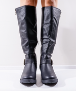 Kathy Black Faux Leather Boots - Missfiga.com