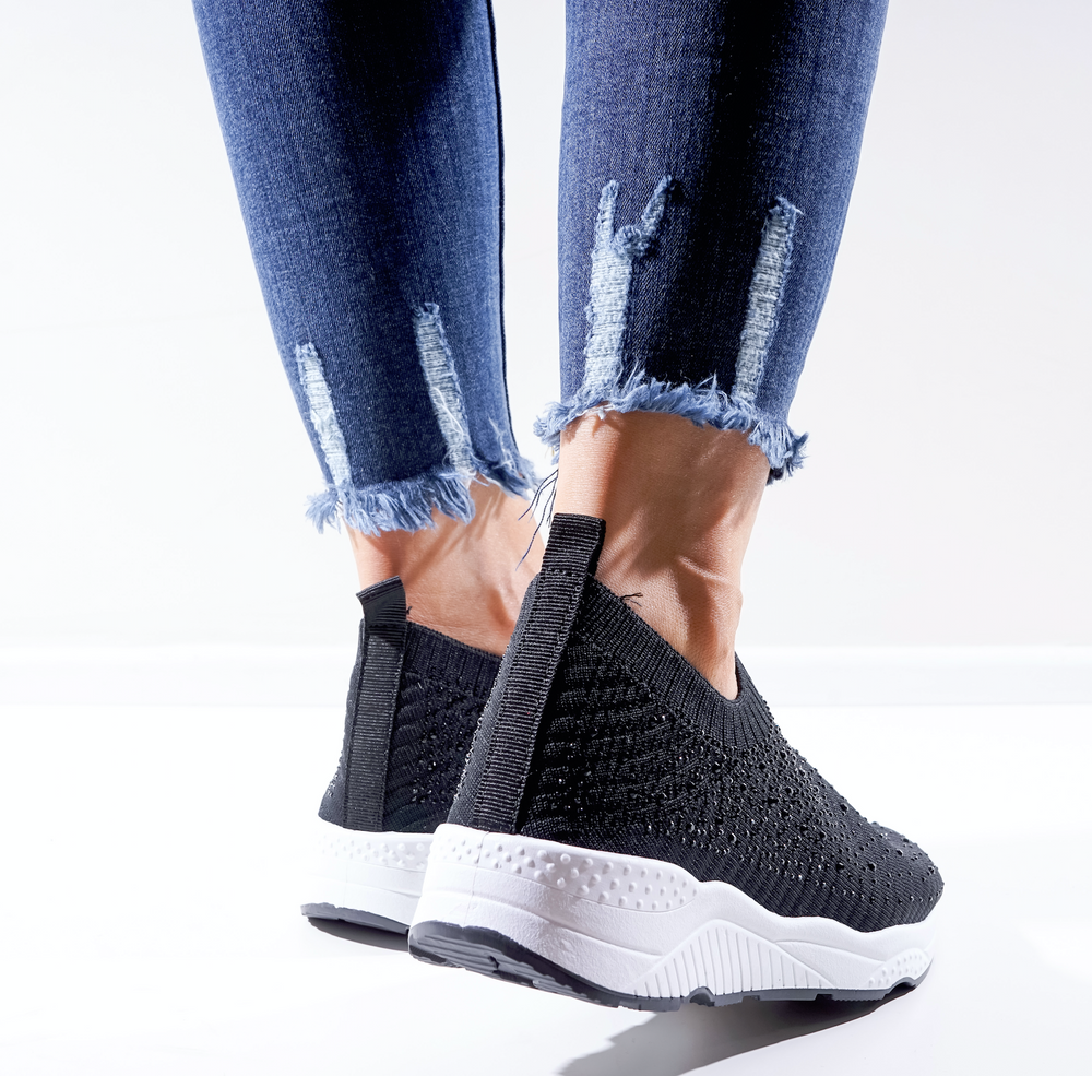Hanna Black Knitted Sock Trainers - Missfiga.com