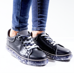 Doni Black Clear Sole Flat Trainers