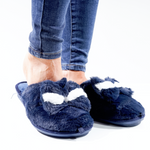 Navy Snug Bow Slippers - Missfiga.com
