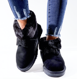 Lined Black Faux Fur Bow Boots - Missfiga.com