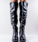Charleen Black Faux Leather Boots - Missfiga.com