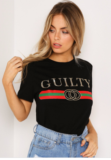 Black 'Guilty' Slogan Tee