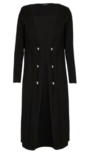 Plus Amelia Black Button Detail Duster Coat