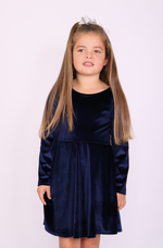 Children's Annabelle Navy Velvet Skater Dress