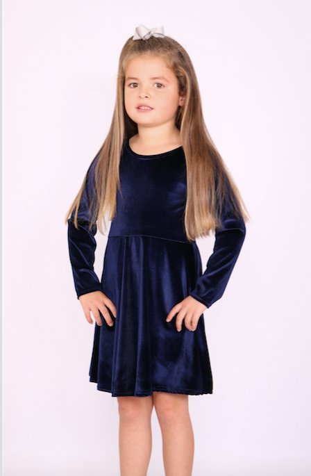 Children's Annabelle Navy Velvet Skater Dress - Missfiga.com