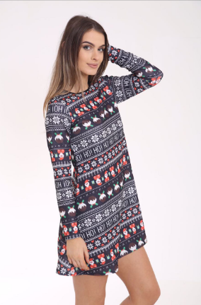 Black Christmas Ho Ho Ho Swing Dress