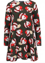Khaki Santa's w/ Sack Christmas Swing Dress - Missfiga.com