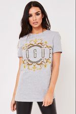 Grey Vogue Slogan T Shirt - Missfiga.com
