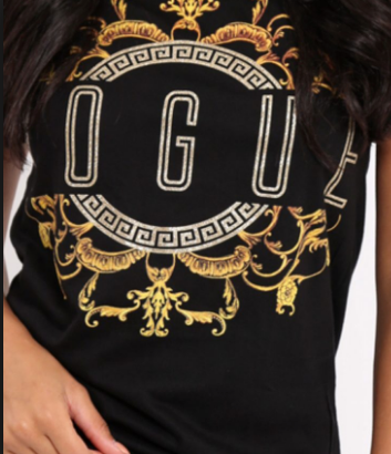 Black Vogue Slogan T Shirt
