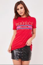 Always Perfect Red Slogan T Shirt