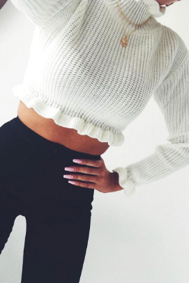 Bonnie White Frill Knitted Jumper