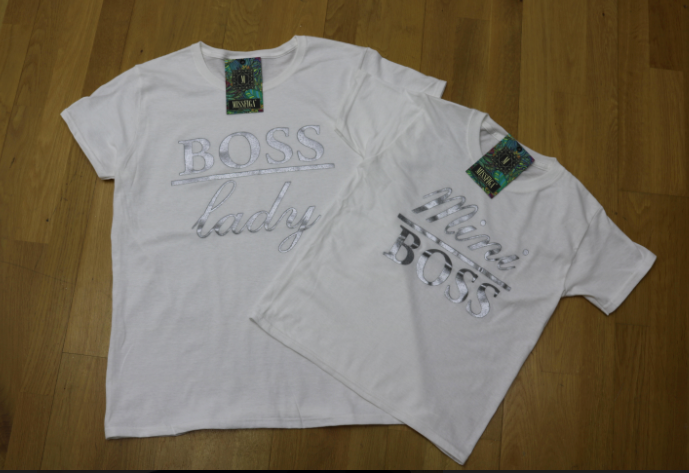 White Boss Lady Mini Boss Matching Tee's