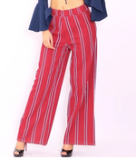 Elyse Red Stripe Flared Palazzo Leg Trousers