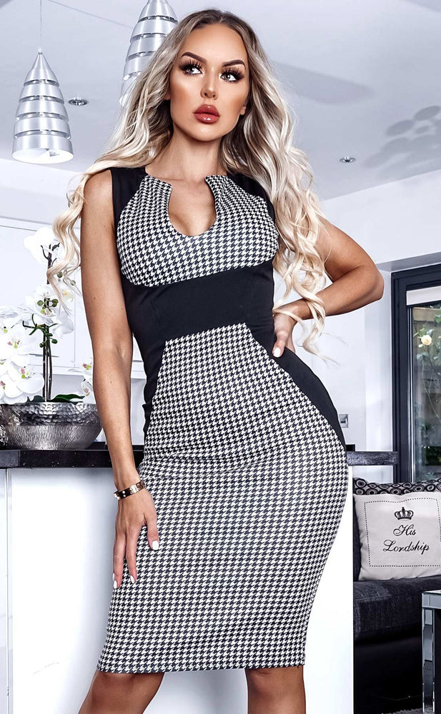 Jane Illusion Houndstooth Panel Dress