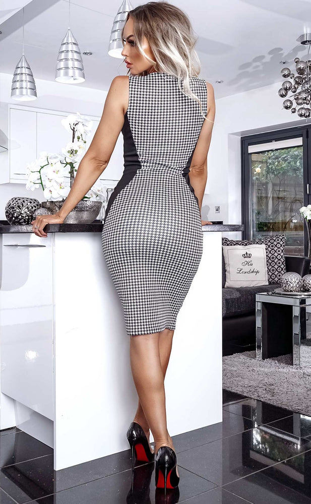 Jane Illusion Houndstooth Panel Dress - Missfiga.com