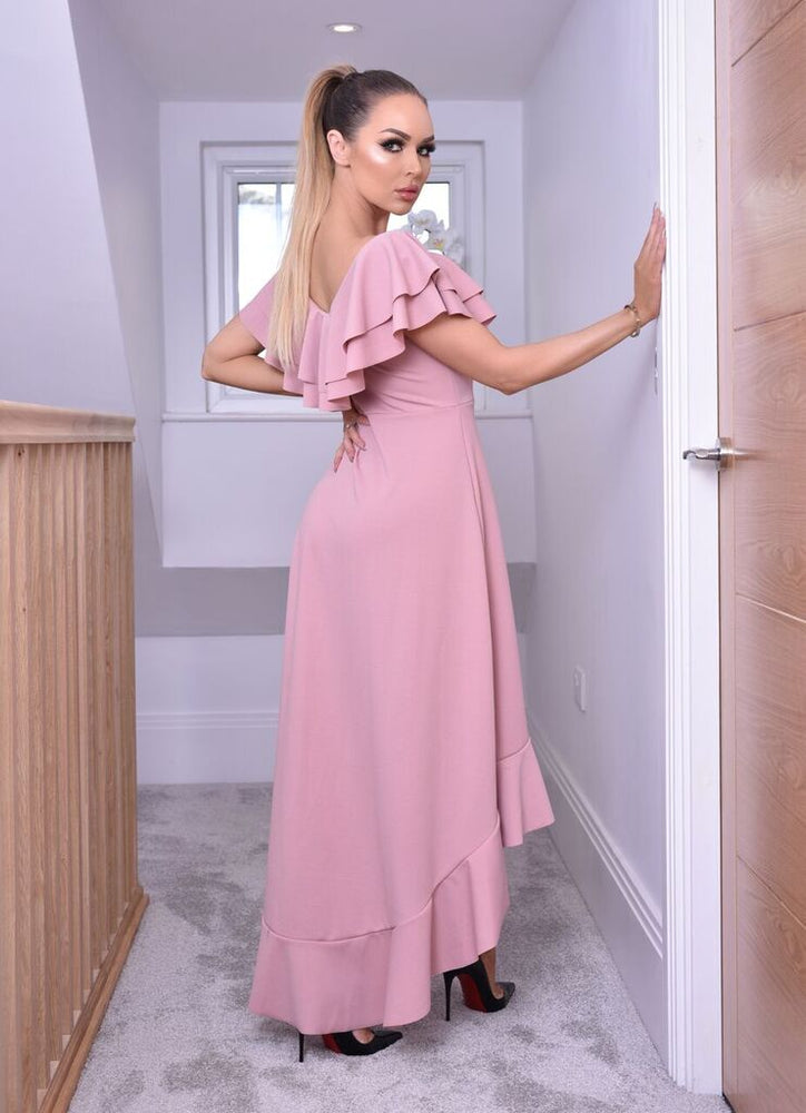 Blush Celine Wrap Off the Shoulder Frill Dress - Missfiga.com
