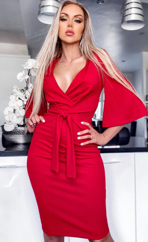 Theo Red Front Tie Up Bodycon Dress
