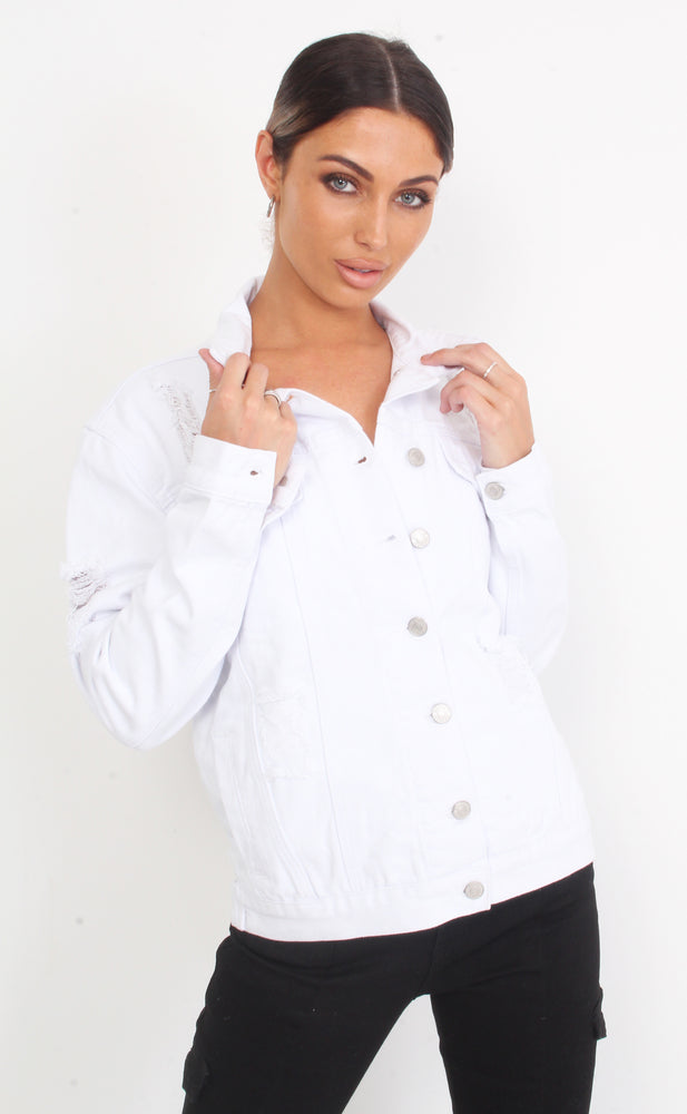 Sully Extreme White Rip Detail Denim Jacket - Missfiga.com
