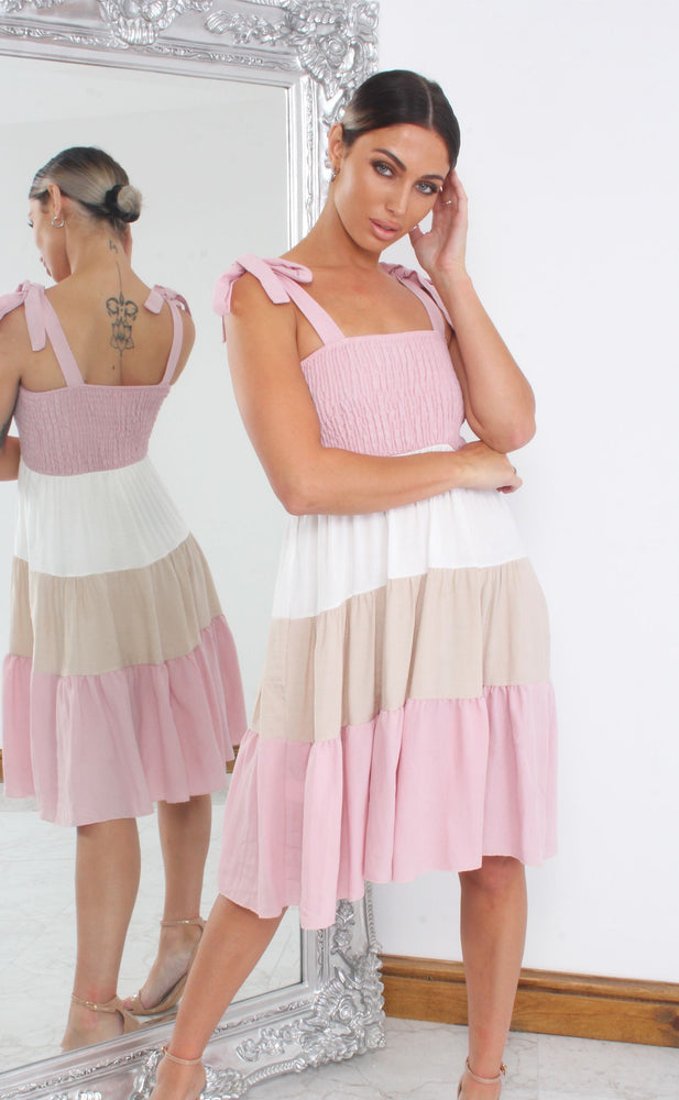 Pink Shirred Colour Block Tiered Shift Dress - Missfiga.com