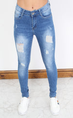Mid Blue Distressed Skinny Jeans