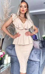 Veronika Stone Peplum Frill Bodycon Dress