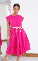 Vander Hot Pink Tiered Cap Sleeve Smock Dress