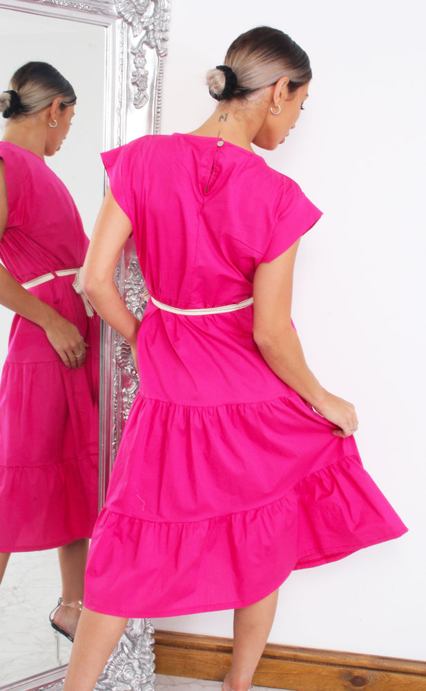 Vander Hot Pink Tiered Cap Sleeve Smock Dress - Missfiga.com