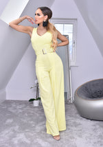 Annie Lemon Wide Leg Sleeveless Jumpsuit