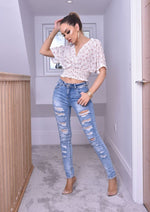 Ivory Alicia Floral Shirred Crop Top