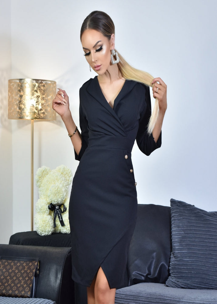 Ariana Black Button Detail Long Sleeve Collard Split Hem Midi Dress - Missfiga.com