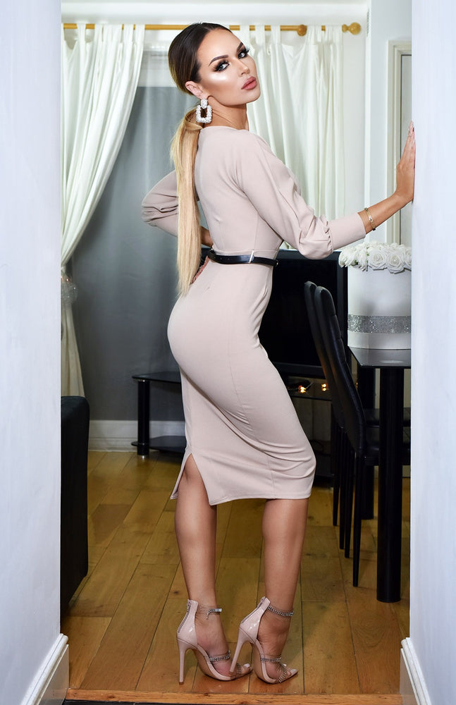 Selena Long Sleeve Midi Dress Beige - Missfiga.com