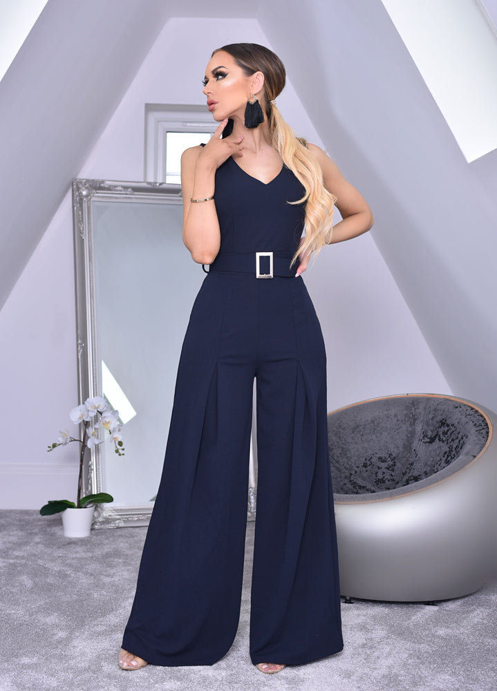 761b3b29d3 Annie Navy Wide Leg Sleeveless Jumpsuit