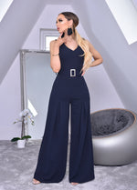 Annie Navy Wide Leg Sleeveless Jumpsuit - Missfiga.com