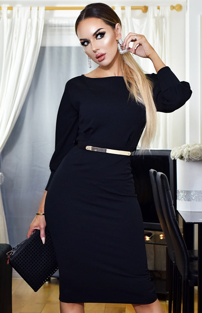 Selena Long Sleeve Midi Dress Black