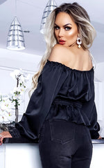 Serena Black Satin Bardot Cropped Top - Missfiga.com