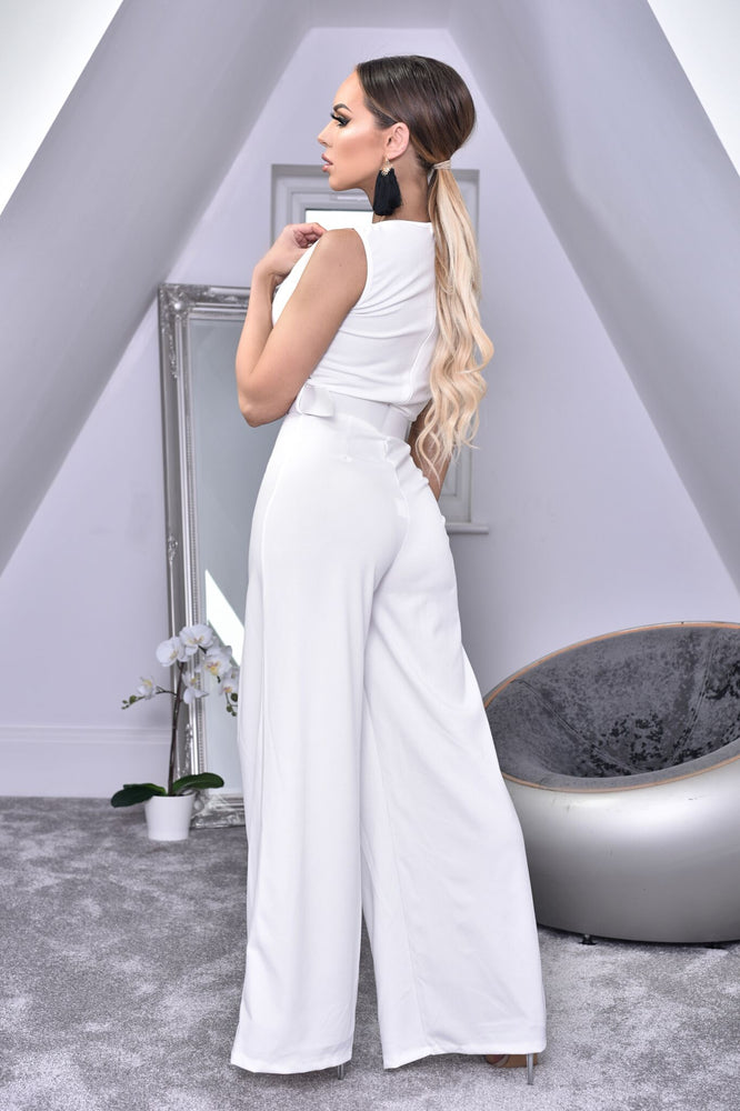 Annie Ivory Wide Leg Sleeveless Jumpsuit