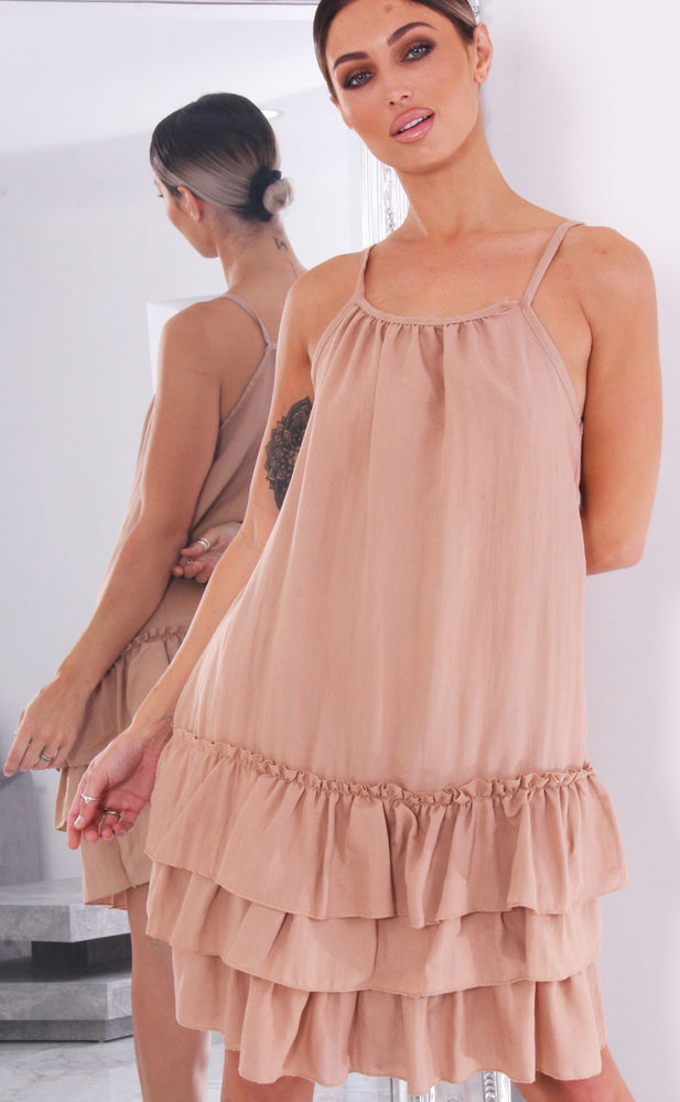 Kimora Stone Strappy Ruffle Hem Swing Dress - Missfiga.com