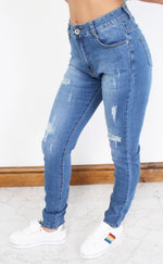 Indigo Washed Distressed Skinny Jeans - Missfiga.com
