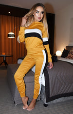 Charlie Mustard Contrast Panel Two Piece Loungewear Set