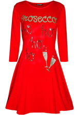 Red ' Prosecco Ho Ho Ho' Swing Dress