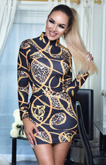 Dolce Chain Print High Neck Printed Long Sleeve Dress