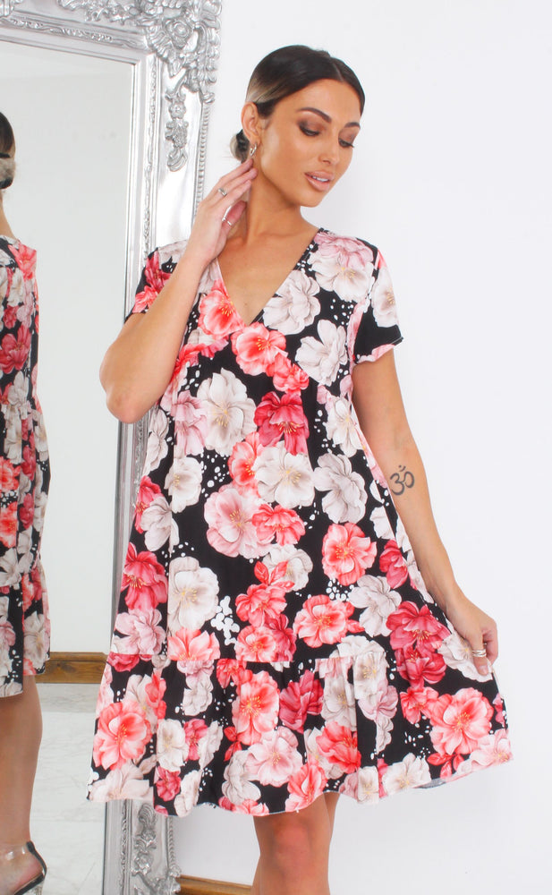 Vixen Black Floral V Neck Smock Dress - Missfiga.com